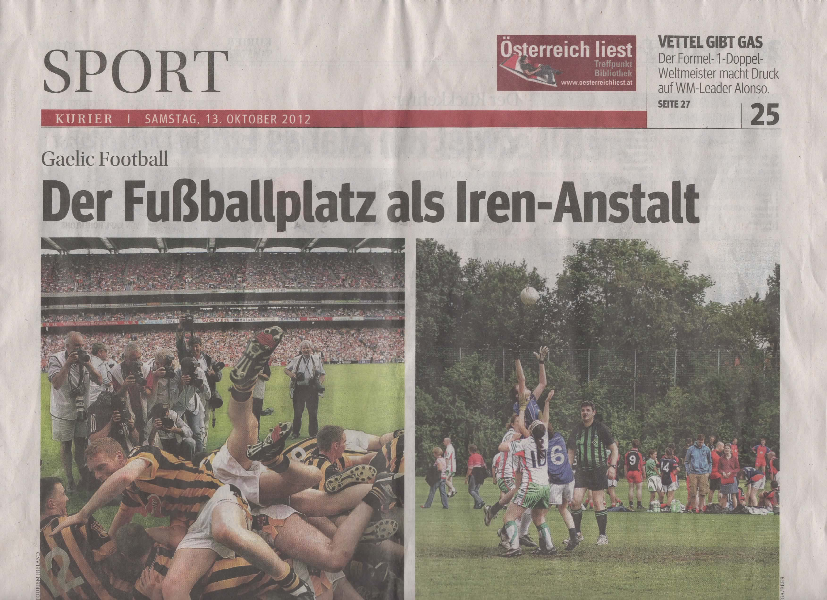 Austrian Newspaper article on GAA & Pan-Euro Tournament